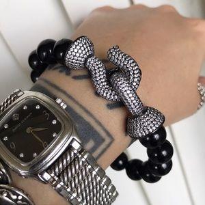 Genuine onyx black rodhium cz hook clasp bracelet